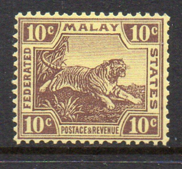 Malaya Sc 64 1931 10c violet tiger stamp mint
