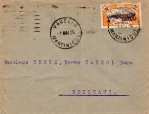 Martinique 25c View of Fort-de-France 1925 Vauclin to Bordeaux, France.  Crea...