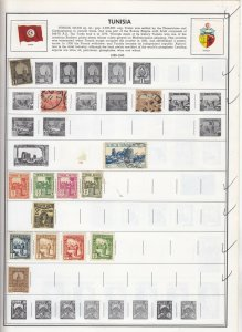 Tunisia Stamp Lot on Old Album Pages from Collection Nice Lot 142