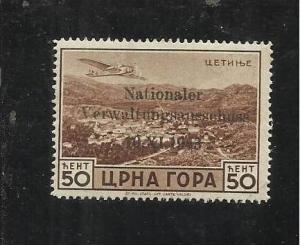 MONTENEGRO TEDESCA  CETTIGNE 1943 SERTO DELLA MONTAGNA SOPRASTAMPATO AEREA 50...