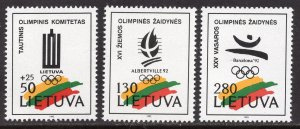 Lithuania MNH 422-4 Olympic Emblems 1992 SCV 2.00