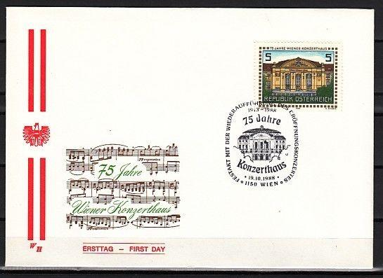 // Austria, Scott cat. 1442. Vienna Concert Hall, First day cover.