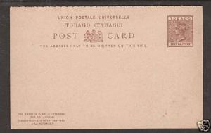 Tobago H&G 2 unused ½p QV Postal Reply Double Card