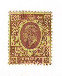 Great Britain Sc132 1902 3 d dull purple E VII stamp used