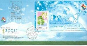 STAMP STATION PERTH Hong Kong # FDC Stamp Expo Sheetlet Series No. 5 2001 VFU