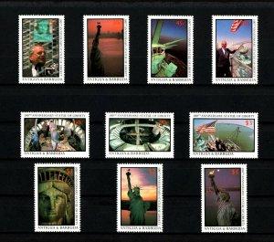 ANTIGUA - 1987 - STATUE OF LIBERTY - CENTENNIAL - PHOTOS - KAPLAN - MINT NH SET!