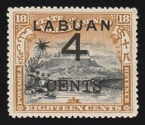 LABUAN : 1899 Large '4 CENTS' on Mount Kinabalu 18c black & olive-bistre.