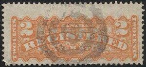 CANADA  1875 2c Registration stamp, Sc F1 Used F, target cancel