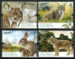 Portugal 3696-3699, MNH. Reintroduction of the Iberian Lynx to Portugal, 2015