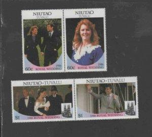 TUVALU-NIUTAO #51-52 1986 WEDDING OF PRINCE ANDREW MINT VF NH O.G PAIRS