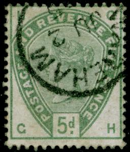 SG193, 5d dull green, VERY FINE used. Cat £210. GH
