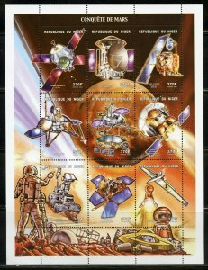 NIGER 2001 CONQUEST OF MARS SHEET OF NINE MINT NH