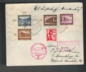 1937 Frankfurt Germany Hindenburg LZ 129 Zeppelin Cover to USA Flight Canceled