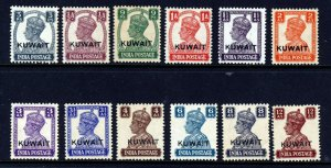 KUWAIT KG VI 1945 INDIA Issues Overprinted KUWAIT SG 52 to SG 62 MINT