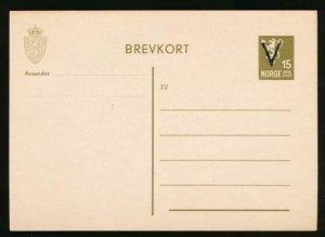 NORWAY Mi. P94 POSTAL STATIONERY POSTAL CARD 15o OLIVE