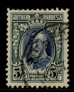 SOUTHERN RHODESIA GV SG27, 5s blue & blue-green, FINE USED. Cat £50.