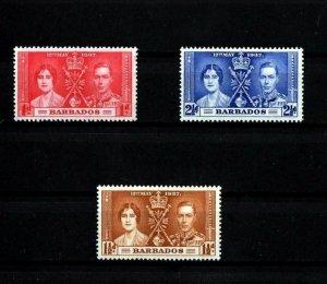 BARBADOS - 1937 - KG VI - CORONATION ISSUE - MINT - MNH - SET OF 3!