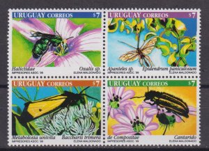 Uruguay 1999 Insects and Flowers  (MNH)  - Flowers, Insects