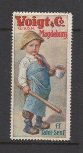 Germany- Voigt & Co. Table Mustard Advertising Stamp Reklamemarke Boy with Stick