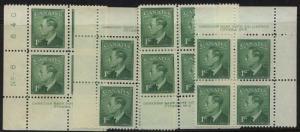 Canada - 1949 1c KGVI  POSTES-POSTAGE Pl. 8 MS Blocks mint #284