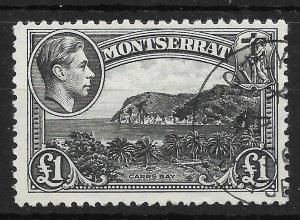 MONTSERRAT SG112 1948 £1 BLACK USED