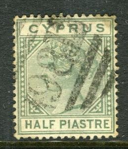 CYPRUS; 1880s early classic QV issue fine used 1/2pi. value, fair Postmark
