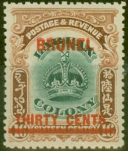 Brunei 1906 30c on 16c Green & Brown SG20 Fine & Fresh Lightly Mtd Mint