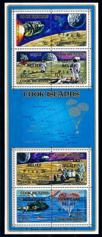 [64617] Cook Islands 1972 Space Travel Weltraum  OVP Hurricane Relief Sheet MNH