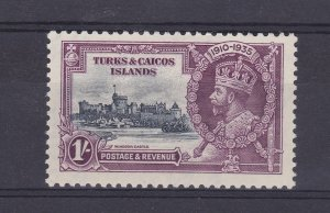 DB391) Turks & Caicos Islands 1935 Jubilee 1/- slate & purple SG 190