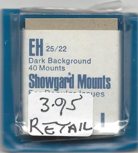 SHOWGARD MOUNT EH,  25 MM X 22 MM, NEW & UNOPENED, RETAIL $3.95