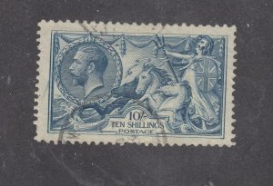 GB # 175a VF-VERY LIGHTLY USED LIGHT BLUE KGV 10sh GEORGE AND DRAGON CV $825
