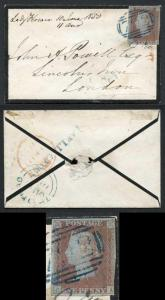 1841 Penny Red (CA) with a 792 (Larlingford) cancel in BLUE Cat 750 pounds
