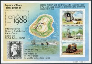 Nauru 216a sheet,MNH.Michel Bl.3. LONDON-1980.Phosphate Corporation.Locomotives.