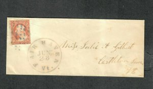 US Sc#26 Left Marginal Fair Haven VT (Rutland Co) Scarce Ultramarine Cancel
