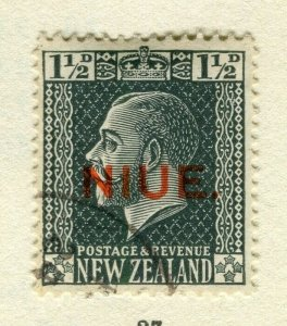 NIUE; 1917 surcharged issue used 1.5d. value