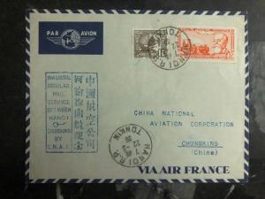 1939 Hanoi Vietnam First Flight Cover to Chunking China CNAC FFC 200 Flown