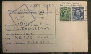 1944 Goburg Australia To Keinjo Camp Chosen Korea POW Prisoner Postcard Cover