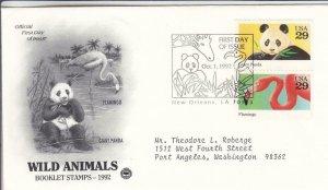 1992, Wild Animals-Flamingo, Giant Panda, PCS, FDC (D15387)
