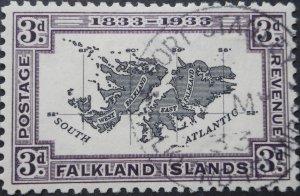 Falkland Islands 1933 GV Centenary 3d SG 131 used