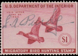 RW10  1943 Federal Duck Stamp F-VF Used Signed No Faults-Natural SE $45CV-EX