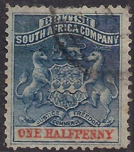 British South Africa Company 1892 - 94 QV 1/2d Deep Blue & vermilion used SG ...