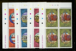 BARBADOS Sc#528-531 Complete Mint Never Hinged PLATE BLOCK Set