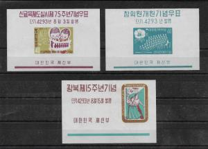 Korea Scott # 306a-308a imperf Souvenir Sheets,MNH**,scv $28,nice color,see pic!