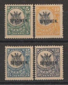 TANGANYIKA : 1925 Giraffe set 5c-30c new colours SPECIMEN.