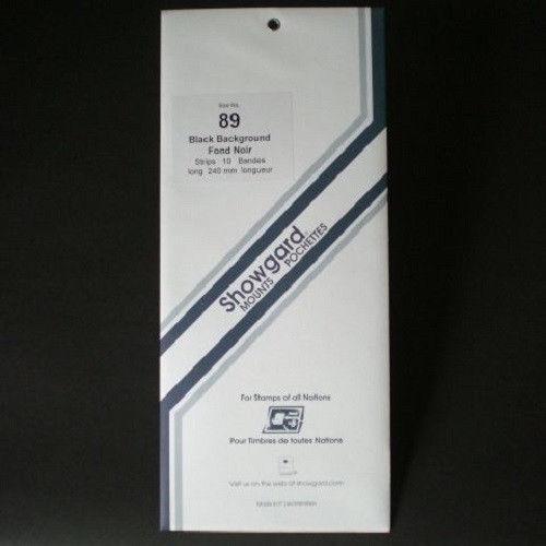 Showgard Stamp Mounts Size 89 / 240 BLACK Background - Pack of 10