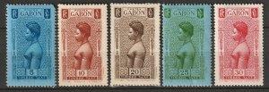 Gabon 1932 Sc J23-7 postage due partial set MH* some paper adhesion