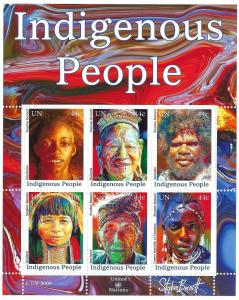 Doyle's_Stamps:Choice Matched 2009 U.N.Indigenous Peoples Stamp NY-Geneva-Vienna