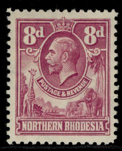 NORTHERN RHODESIA GV SG8, 8d rose-purple, LH MINT.