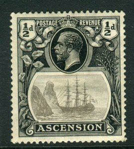 ASCENSION-1924-33 ½d Grey Black & Black.  A mounted mint example