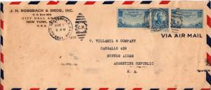 United States Clipper Airmails 25c Clipper (2) with 5c Roosevelt Fourth Burea...